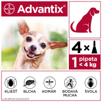 ADVANTIX Spot-on pre psov do 4 kg (4 pipety) 4x0,4 ml