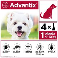 ADVANTIX Spot-on pre psov od 4 do 10 kg (4 pipety) 4x1 ml