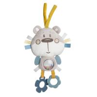 CANPOL BABIES Plyšová edukačná zaväzovacia hračka PASTEL FRIENDS šedý medvedík
