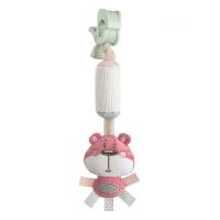 CANPOL BABIES Plyšová hračka so zvončekom a klipom PASTEL FRIENDS ružový medvedík