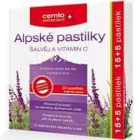 CEMIO Alpské pastilky šalvia + Vitamín C 15 + 5 pastiliek ZADARMO