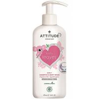 ATTITUDE Baby leaves detské telové mydlo a šampón 2 v 1 bez vône 473 ml