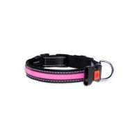 KARLIE FLAMINGO LED nylonový obojok pre psov s USB nabíjaním ružový  66 cm