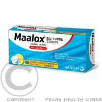 MAALOX bez cukru citrón 400 mg 40 žuvacích tabliet